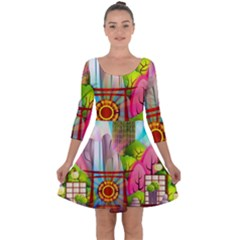 Zen Garden Japanese Nature Garden Quarter Sleeve Skater Dress