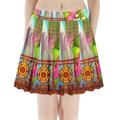 Zen Garden Japanese Nature Garden Pleated Mini Skirt