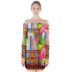 Zen Garden Japanese Nature Garden Long Sleeve Off Shoulder Dress