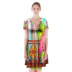 Zen Garden Japanese Nature Garden Short Sleeve V Neck Flare Dress by Nexatart