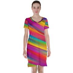 Colorful Background Short Sleeve Nightdress