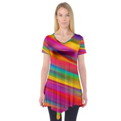 Colorful Background Short Sleeve Tunic