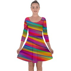 Colorful Background Quarter Sleeve Skater Dress
