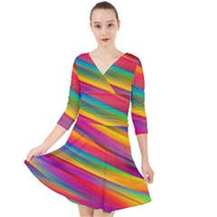 Colorful Background Quarter Sleeve Front Wrap Dress