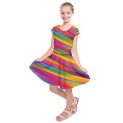 Colorful Background Kids  Short Sleeve Dress