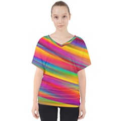 Colorful Background V Neck Dolman Drape Top