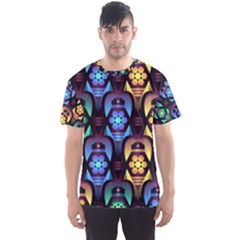 Pattern Background Bright Blue Men s Sports Mesh Tee
