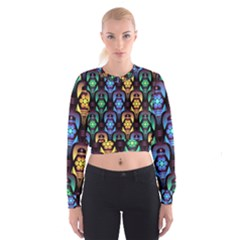 Pattern Background Bright Blue Cropped Sweatshirt
