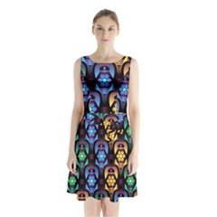 Pattern Background Bright Blue Sleeveless Waist Tie Chiffon Dress