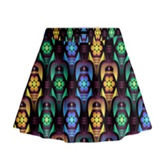 Pattern Background Bright Blue Mini Flare Skirt