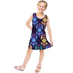 Pattern Background Bright Blue Kids  Tunic Dress
