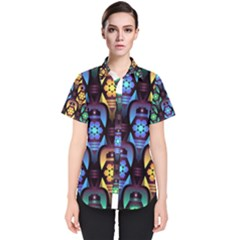 Pattern Background Bright Blue Women s Short Sleeve Shirt