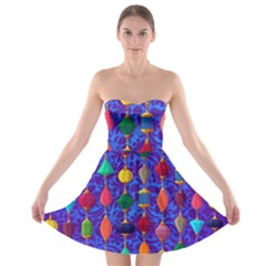 Colorful Background Stones Jewels Strapless Bra Top Dress