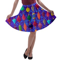 Colorful Background Stones Jewels A Line Skater Skirt