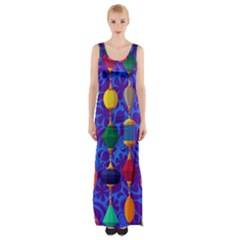 Colorful Background Stones Jewels Maxi Thigh Split Dress