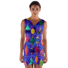 Colorful Background Stones Jewels Wrap Front Bodycon Dress