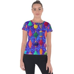 Colorful Background Stones Jewels Short Sleeve Sports Top