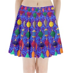 Colorful Background Stones Jewels Pleated Mini Skirt