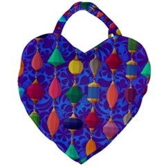 Colorful Background Stones Jewels Giant Heart Shaped Tote