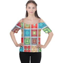 Tiles Pattern Background Colorful Cutout Shoulder Tee