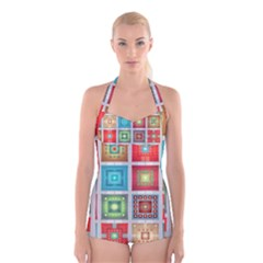 Tiles Pattern Background Colorful Boyleg Halter Swimsuit