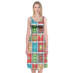 Tiles Pattern Background Colorful Midi Sleeveless Dress