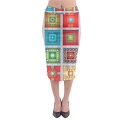 Tiles Pattern Background Colorful Midi Pencil Skirt