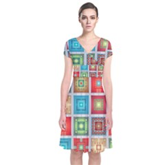 Tiles Pattern Background Colorful Short Sleeve Front Wrap Dress