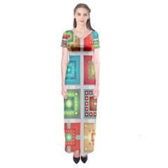 Tiles Pattern Background Colorful Short Sleeve Maxi Dress