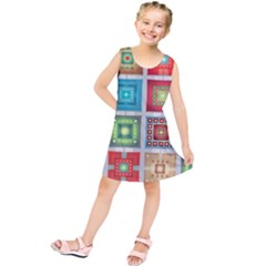 Tiles Pattern Background Colorful Kids  Tunic Dress