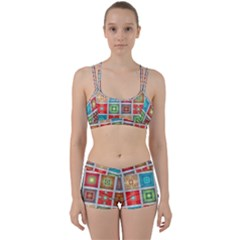 Tiles Pattern Background Colorful Women s Sports Set