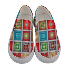 Tiles Pattern Background Colorful Women s Canvas Slip Ons