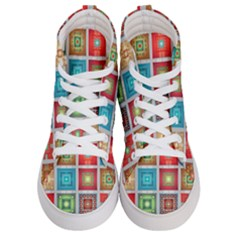 Tiles Pattern Background Colorful Women s Hi Top Skate Sneakers