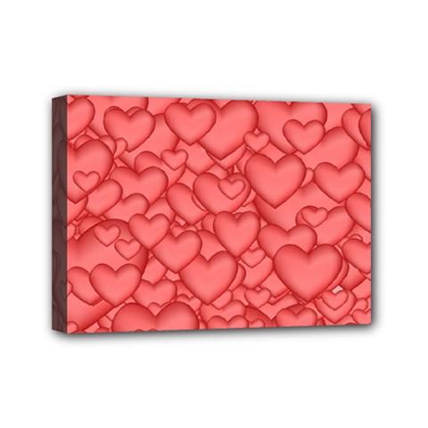 Background Hearts Love Mini Canvas 7  X 5