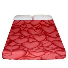 Background Hearts Love Fitted Sheet (california King Size)