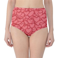Background Hearts Love High Waist Bikini Bottoms