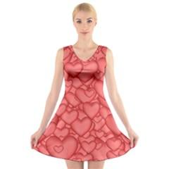 Background Hearts Love V Neck Sleeveless Skater Dress