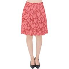 Background Hearts Love Velvet High Waist Skirt