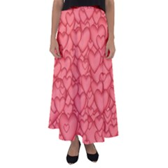 Background Hearts Love Flared Maxi Skirt