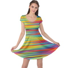 Colorful Background Cap Sleeve Dress