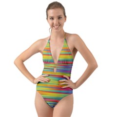 Colorful Background Halter Cut Out One Piece Swimsuit