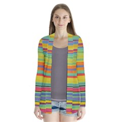 Colorful Background Drape Collar Cardigan