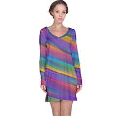 Colorful Background Long Sleeve Nightdress