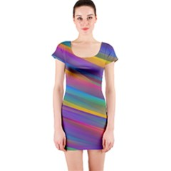 Colorful Background Short Sleeve Bodycon Dress