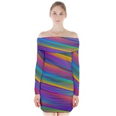 Colorful Background Long Sleeve Off Shoulder Dress