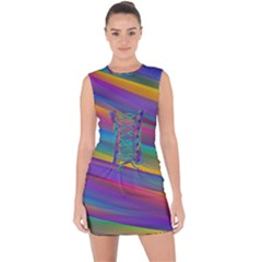 Colorful Background Lace Up Front Bodycon Dress