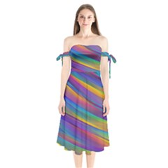 Colorful Background Shoulder Tie Bardot Midi Dress