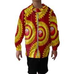 Floral Abstract Background Texture Hooded Wind Breaker (kids)