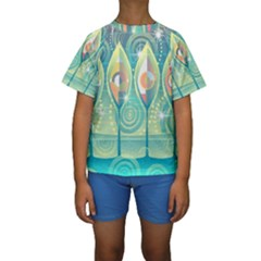 Background Landscape Surreal Kids  Short Sleeve Swimwear by Nexatart