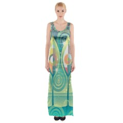 Background Landscape Surreal Maxi Thigh Split Dress